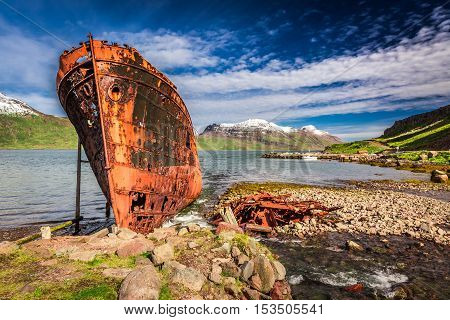 Shipwreck on the Arctic sea Iceland in summer