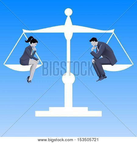 Gender equality business concept. Pensive businessman and business lady in business suits sit on left and right plates of scales and scales are in equilibrium. Vector illustration.