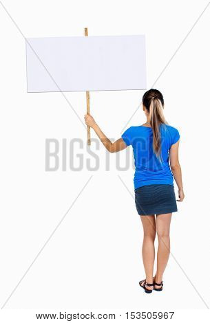 Back view woman showing sign board. man holds information plate. Rear view people collection. backside view of person. Isolated over white background. 