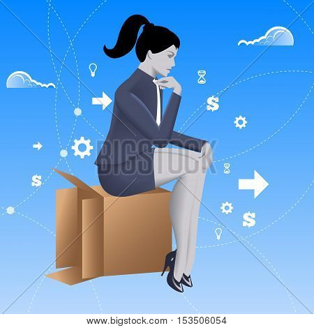 Thinking outside of the box business concept. Pensive business lady in business suit sitting on carton box. Vector illustration. Use as template background or any any other design.