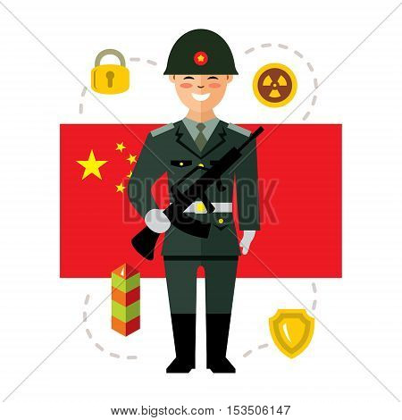 Soldier with gun on a background of the Chinese flag. Isolated on a white background