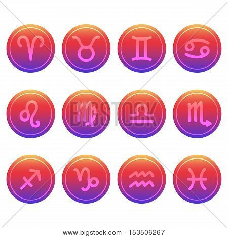 Set of twelve cute and colorful hand drawn zodiac signs on trendy gradient background.
