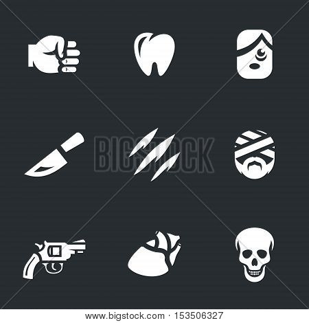 Fist, broken tooth, bruise, knife, scar, patient, gun, heart, skull.