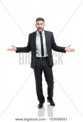 Surprised emotional businessman posing on a white background