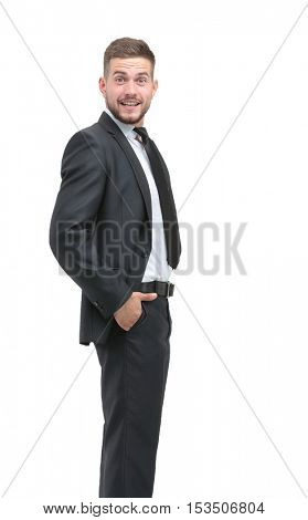 Smiling business man stending in profile