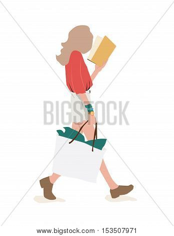 Girls Walking And Reading After Shopping. Isolated White Background. Vector Illustration