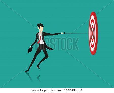 Businessman Hit. Concept business illustration. Vector flat