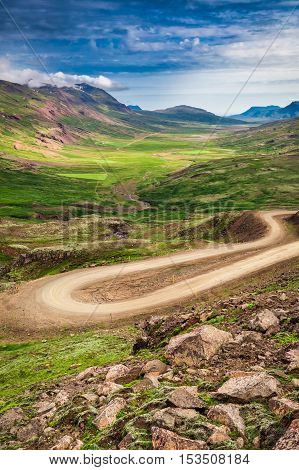 Winding Mountain Road In The Valley, Iceland