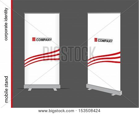 Template for advertising and corporate identity. Advertising mobile stand. Mockup for design.