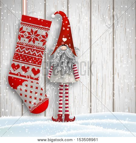 Scandinavian christmas motive, Tomte standing in front of gray wooden wall in snow, with knitted stocking, Nisser in Norway and Denmark, Tomtar in Sweden or Tonttu in Finnish are traditional folklore elves, vector illustration, eps 10 with transparency