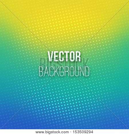 Colorful blurred background with halftone effect overlay. Dotted pattern on blue-yellow abstract gradient backdrop. Vector illustration