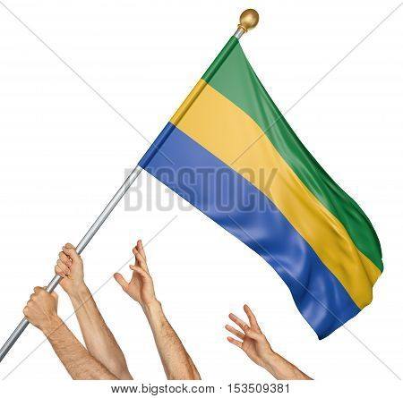 Team of peoples hands raising the Gabon national flag, 3D rendering isolated on white background