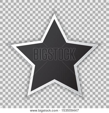 Black blank poster mockup in star sheet of paper on transparent background