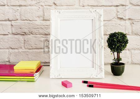 White Frame Mock Up, Digital Mockup, Display Mockup, Styled Stock Photography Mockup, Colorful Deskt