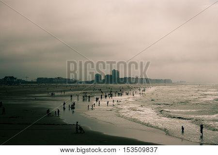 Seascape of Ostend beach in the mist Belgium