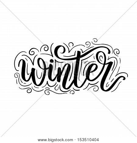 Hello Winter Text. Vector Brush Lettering Hello Winter. Vector Card Design With Custom Calligraphy.