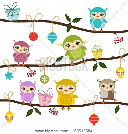 Christmas owls. Illustration with cartoon owls sitting on the tree branch. White background.