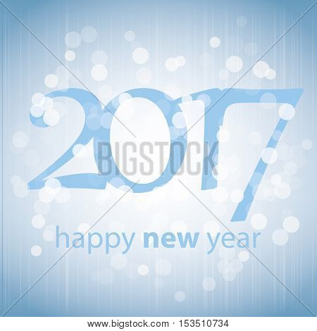 Best Wishes - Blue Abstract Modern Style Happy New Year Greeting Card, Cover or Background, Creative Design Template - 2017