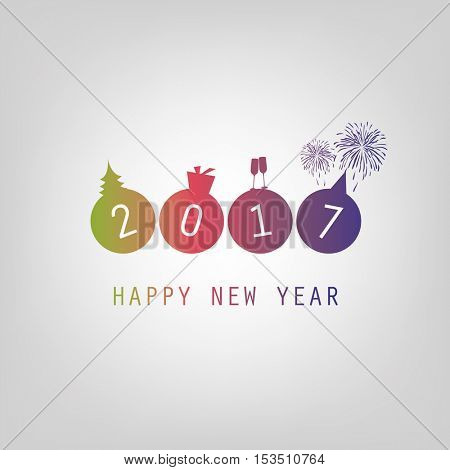 Best Wishes - Modern Simple Minimal Happy New Year Card or Cover Background Template - 2017