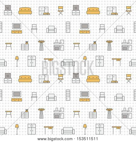 Furniture outline multicolored vector seamless pattern. Clean and simple design.