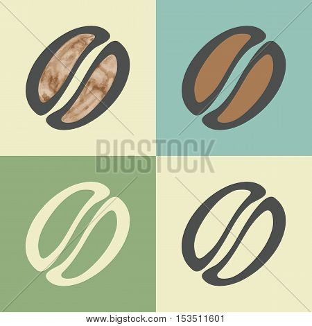 Vector outline coffee bean food icon with watercolor fill. Elements for mobile concepts and web apps. Modern infographic logo and pictogram.