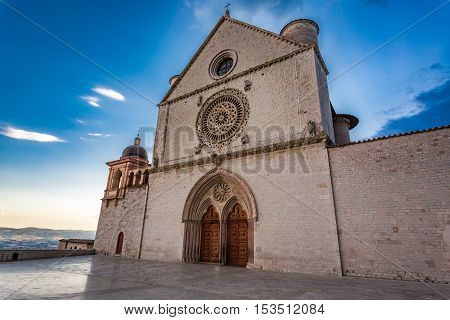 Wonderful basilica in Assisi Umbria Italy in summer