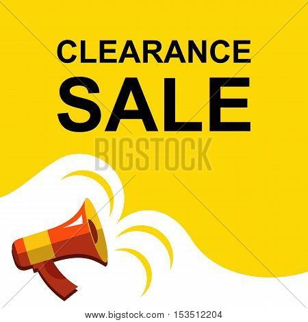 Megaphone With Clearance Sale Announcement. Flat Style Illustration