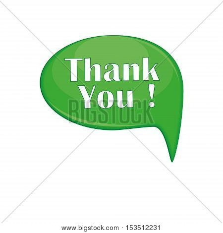 thank you message bubble vector illustration isolated on white background