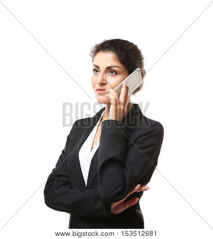 Portrait of successful mature businesswoman with mobile phone, isolated on white