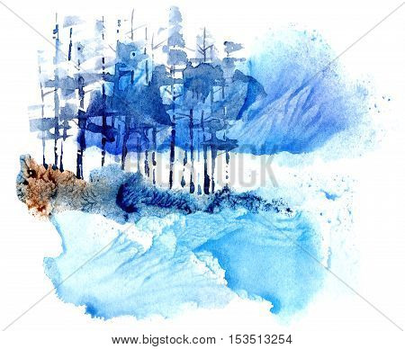 Abstract winter landscape with pine trees,lake and mountains.Watercolor hand drawn illustration.
