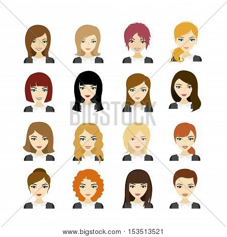 Set of Face european woman with different hair styleavatar or template isolated on white stock vector illustration