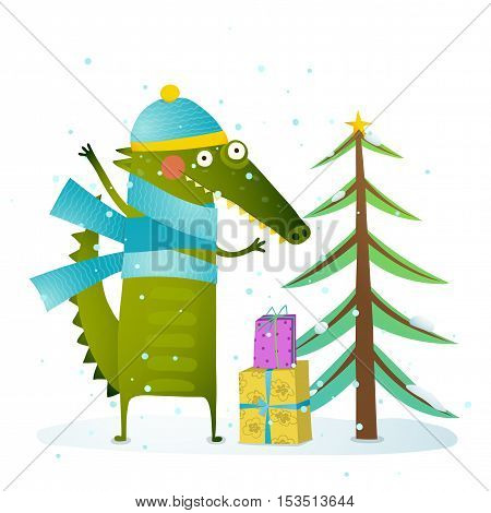 Seasonal animal cartoon for children. Greeting card for New Year or Christmas. Vector illustration.