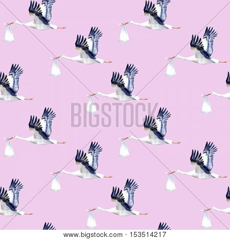 Seamless pattern.Stork with baby.Watercolor hand drawn illustration.Pink background.