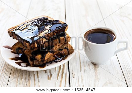 Fresh Toast With Hot Chocolate And Cup Of Espresso.