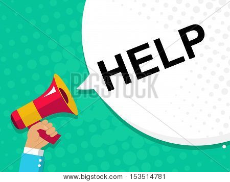 Hand Holding Megaphone With Help Announcement. Flat Style Illustration