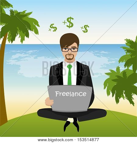 Freelancer dressed in business suit sitting on the beach in lotus pose and works vector illustration