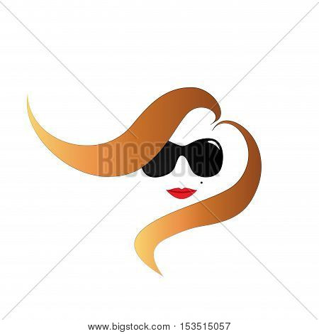 Girl at fashion in the wind, abstract shape, isolated illustration