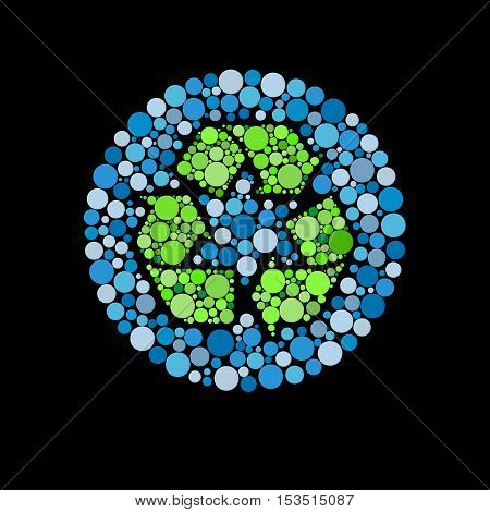 Vector sign water recycle, abstract shape, isolated illustration