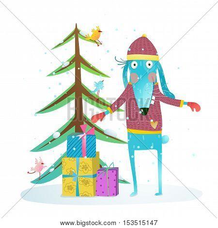 Merry Christmas or Happy New Year season illustration for children. Vector cartoon.