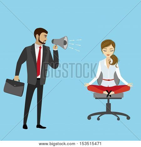 Chief yelling at the manager business stress concept vector illustration