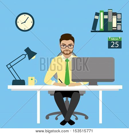 Office worker or businessman working On Computer.Cartoon stock vector illustration