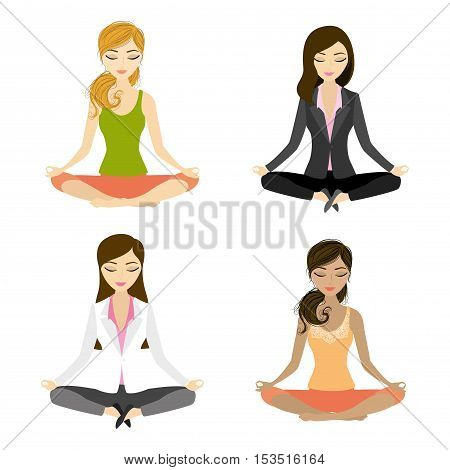 set of people doing yoga.relax in the middle of a work day. Businesswoman meditating in lotus pose.Isolated on white. Vector illustration