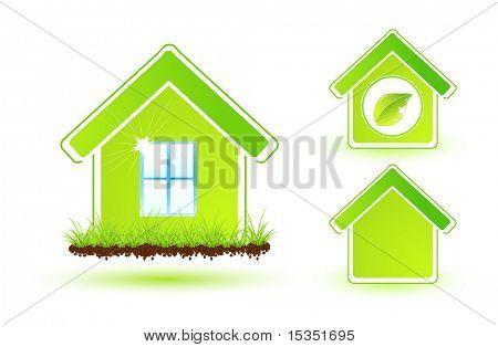 Set of green eco houses