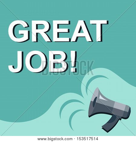 Megaphone With Great Job Announcement. Flat Style Illustration
