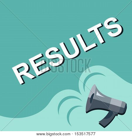 Megaphone With Results Announcement. Flat Style Illustration