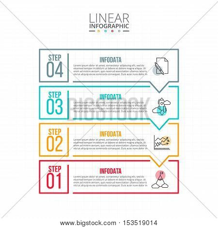 Thin line flat elements for infographic. Template for diagram, graph, presentation and chart. Business concept with 4 options, parts, steps or processes. Data visualization.