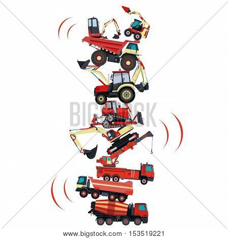 Tower assembled from building machines - truck, digger, crane, bagger, mix. Construction machinery red set. Collected ground works. Machine vehicles, excavator. Build equipment. Vector illustration.
