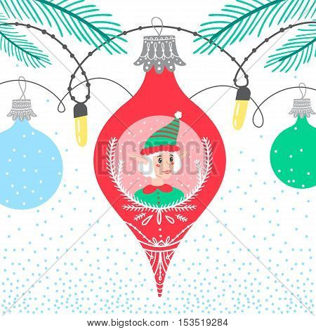 Christmas winter border card background with colorful bubbles featuring new year character elf helper