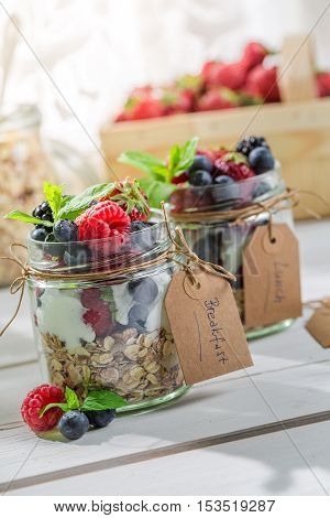 Healthy Breakfast With Berry Fruits And Yogurt