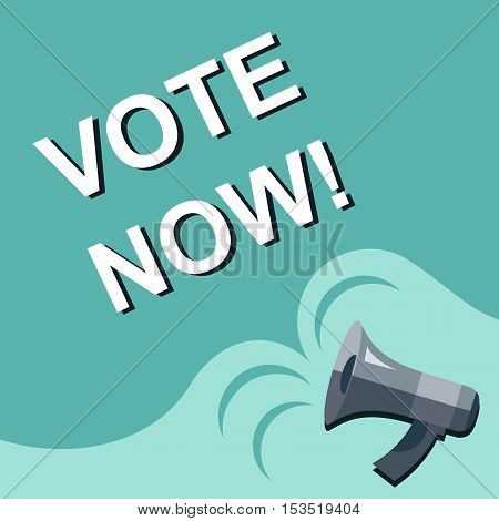 Megaphone With Vote Now Announcement. Flat Style Illustration